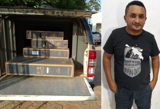 Material apreendido em Zé Doca durante operação da Polícia Civil; Charleylson Bezerra da Silva preso em Zé Doca por crimes de estelionato