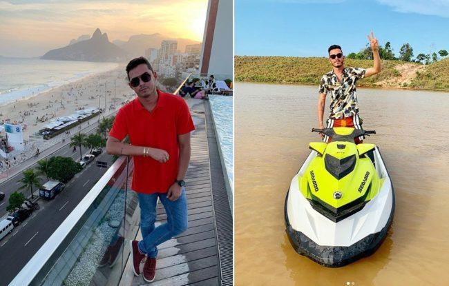 Ronei em hotel de luxo na orla de Ipanema, no Rio; Ronei em moto aquática