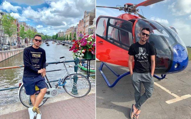 Ronei em viagem à Europa; Roniel, preso nesta quinta (10), exibia uma vida de luxo nas redes sociais