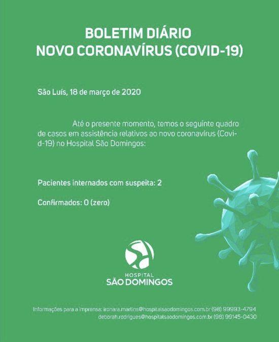 Boletim do Hospital São Domingos - suspeita de coronavírus