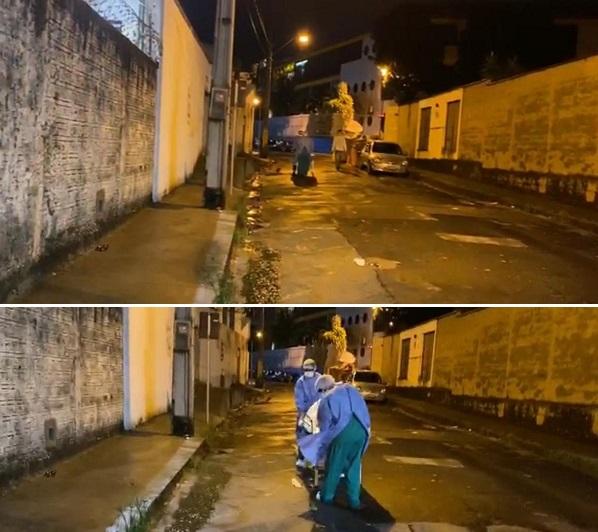 Cadáver com suspeita da Covid-19 é levado na maca no meio da rua