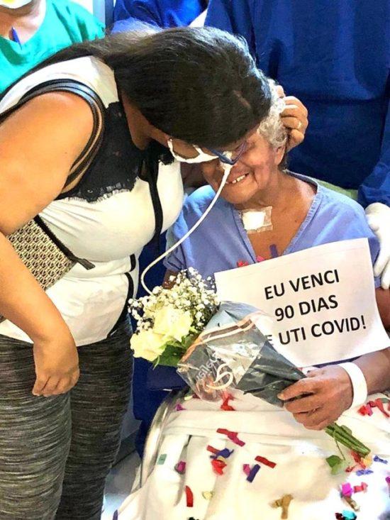 Luzia Angelita Costa recebeu alta da Covid-19 após 90 dias internada no Hospital Universitário, em São Luís