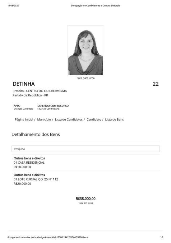 declaração de bens de 2008 da deputada Detinha