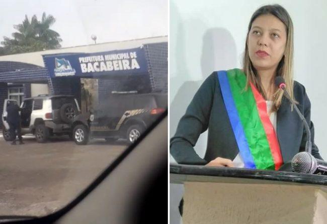 Carro da PF na porta da Prefeitura comandada pela prefeita Fernanda