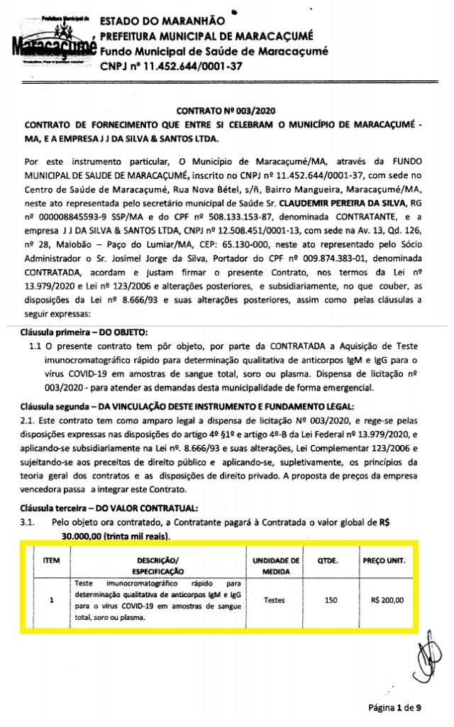 Prefeito de Maracaçumé vai ter que explicar para PF a compra de testes rápidos com empresa alvo de operação