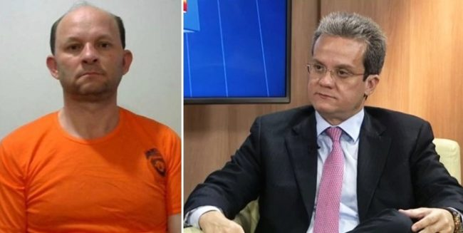 Agiota Pacovan com roupa de detento ao lado do seu advogado Ulisses Sousa