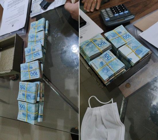 Dinheiro apreendido durante a Operação Bravo Uniform da PF