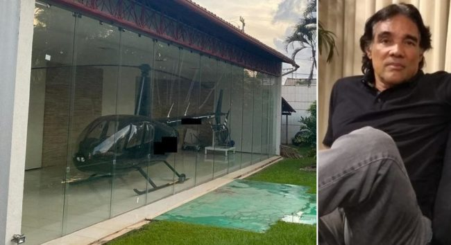 Helicóptero na garagem da casa de Edinho Lobão