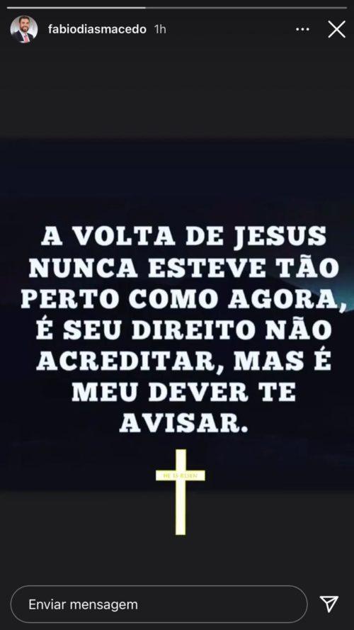 Fábio Macedo prega a palavra de Deus na sua rede social