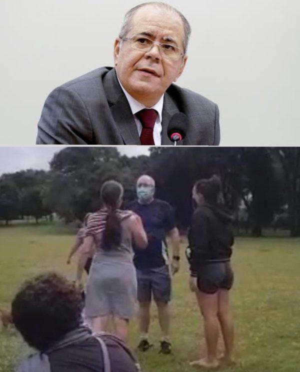 Hildo Rocha discute com moradores da quadra depois de ser perseguido por cachorros