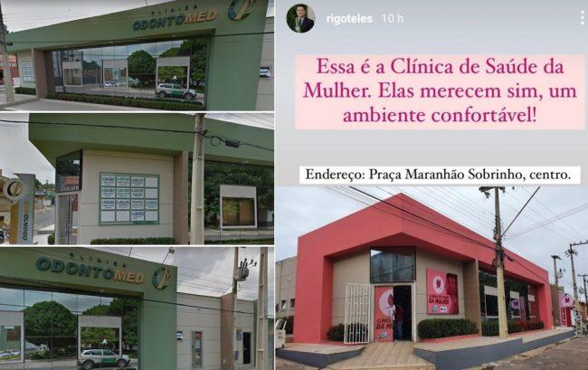 Clínica do marido da sobinha do prefeito Rigo Teles, que ainda comemora a entrega de uma clínica que vai funcionar no imóvel do marido da sobrinha
