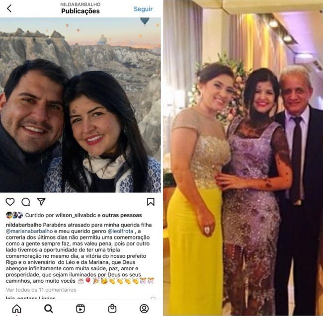 Mariana Barbalho (sobrinha do prefeito) ao lado do marido Leonardo Frota e do seus pais Pedro Teles e Nilda Barbalho