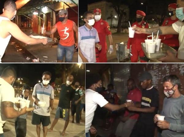 Moradores de rua recebendo o sopão do São Braz Solidário