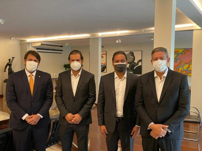 Pedro Lucas, Antonio Rueda, Weverton Rocha e Arthur Lira na Câmara em Brasília