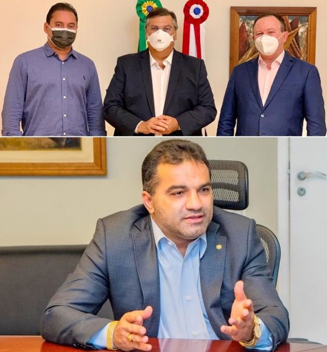 Senador Weverton Rocha, governador Flávio Dino e o vice-governador Carlos Brandão na discussão sobre 2022. Já o deputado federal Josimar está fora do debate
