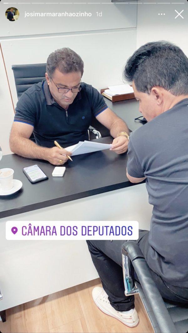 Deputado federal Josimar de Maranhãozinho reunido com o lobista Magalhães em Brasília