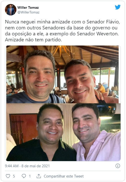 Advogado Willer Tomaz com os senadores Flávio Bolsonaro e Weverton Rocha