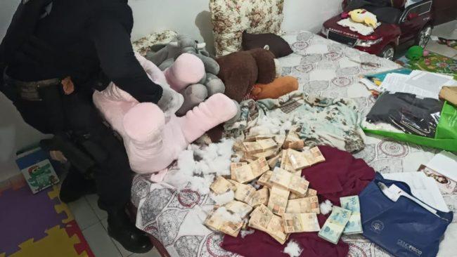 Agentes federais encontraram dinheiro dentro de urso de pelúcia