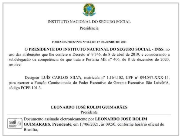 Nomeação de Luís Carlos Silva para o cargo de Gerente Executivo do INSS em São Luís