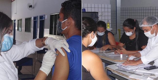 Profissionais realizam o dia D da vacinação contra a Covid-19 em Altamira do Maranhão