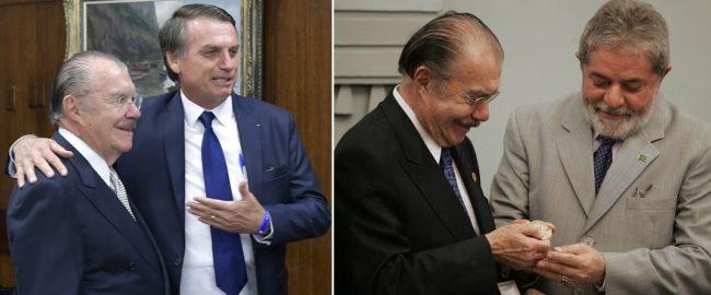 Sarney em dois momentos com Bolsonaro e Lula