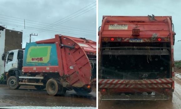 Caminhão compactador de propriedade da Construtora Cardoso