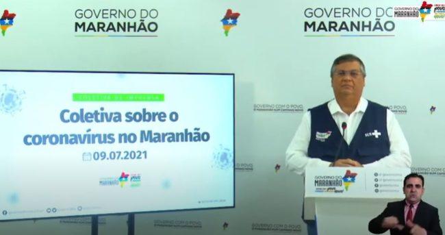 Governador Flávio Dino anunciando medidas preventivas no MA