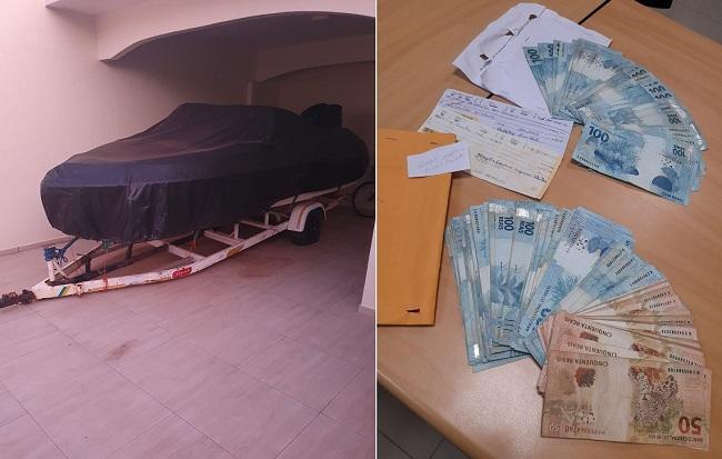 Lanchas também foram apreendidas; dinheiro em espécie e cheques foram encontrados